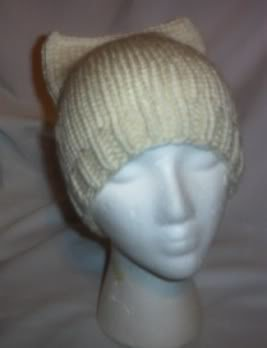 Hand Knit Cat Ears Hat Meooow - Ivory - Ribbed Brim