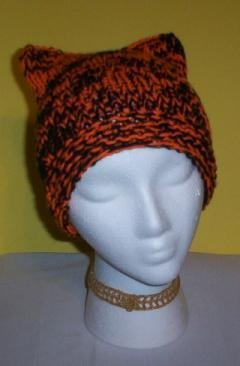 Hand Knit Cat Ears Hat Meow - Black Orange Halowen Kitt