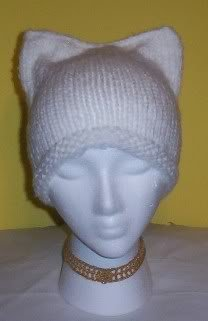 Hand Knit Cat Ears Hat Meooow - White Snow Cat