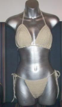 Hand Crochet String Bikini ~ Size B/C Cup Ivory ~ Medium sliding Cups
