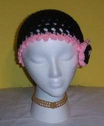 Hand Crochet Black/Pink Mesh Beanie Skull Cap W/Flower