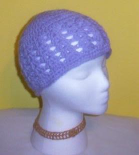 Hand Crochet ~ Ladies Skull Cap ~ Lavendar