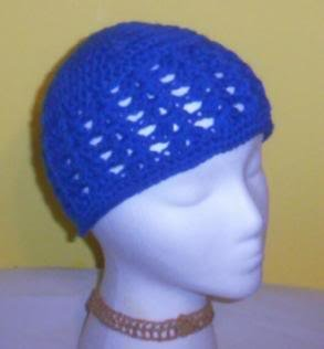 Hand Crochet ~ Ladies Skull Cap ~ Royal Blue