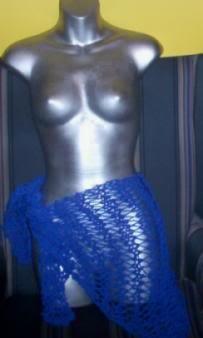 Hand Knit Lacy Royal Blue Sarong Beachware Cover up