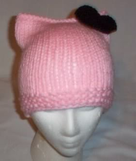 Hand Knit Cat Ears Hat Meow - Hello Kitty L Pink/Black
