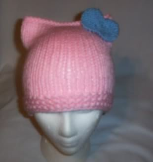 Hand Knit Cat Ears Hat Meow - Hello Kitty L Pink/L Blue