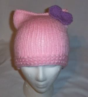 Hand Knit Cat Ears Hat Meow - Hello Kitty L Pink/Lavend
