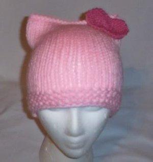 Hand Knit Cat Ears Hat Meow - Hello Kitty L Pink/Raspbe
