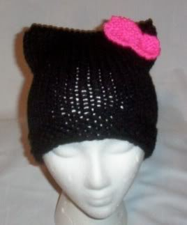 Hand Knit Cat Ears Hat Meow - Hello Kitty Black/H Pink