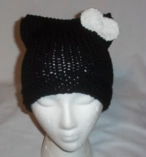 Hand Knit Cat Ears Hat Meow - Hello Kitty Black/White