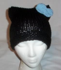 Hand Knit Cat Ears Hat Meow - Hello Kitty Black/L Blue