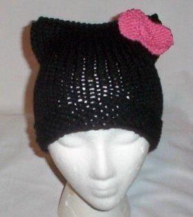 Hand Knit Cat Ears Hat Meow - Hello Kitty Black/Raspber