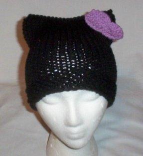 Hand Knit Cat Ears Hat Meow - Hello Kitty Black/Lavenda