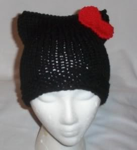 Hand Knit Cat Ears Hat Meow - Hello Kitty Black/Red Bow
