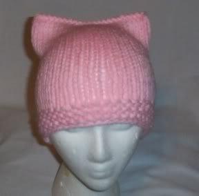 Hand Knit Cat Ears Hat Meooow - Light Pink