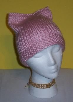 Hand Knit Cat Ears Hat Meooow - Soft Pink Kitty