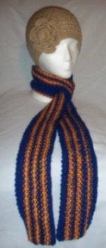 Hand Knit Xtra Long Skinny Scarf Royal Blue & Tangerine