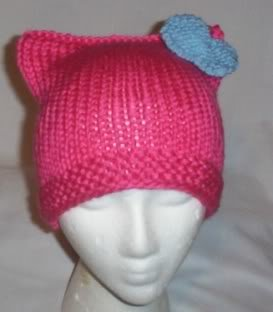 Hand Knit Cat Ears Hat Meooow - Hello Kitty Pink/L Blue