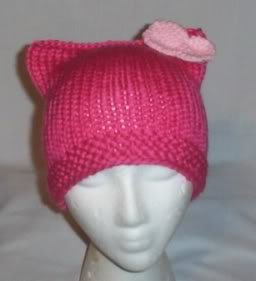 Hand Knit Cat Ears Hat Meooow - Hello Kitty Pink/L Pink