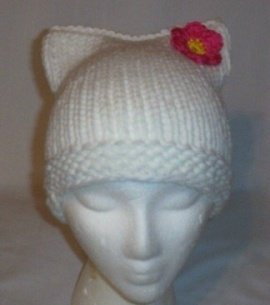 Hand Knit Cat Ears Hat Meow - Hello Kitty White/Flower