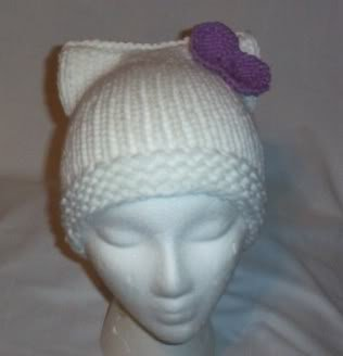 Hand Knit Cat Ears Hat Meooow - Hello Kitty White/lave