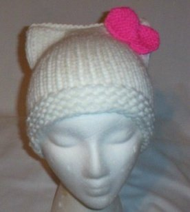 Hand Knit Cat Ears Hat Meooow - Hello Kitty White/H Pin