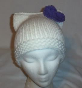 Hand Knit Cat Ears Hat Meooow - Hello Kitty White/Purp