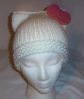 Hand Knit Cat Ears Hat Meooow - Hello Kitty White/Raspb