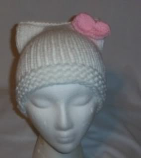 Hand Knit Cat Ears Hat Meooow - Hello Kitty White/Pink