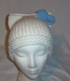 Hand Knit Cat Ears Hat Meooow - Hello Kitty White/Blue