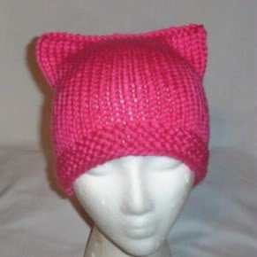 Hand Knit Kitty Kat Ears Hat Meooow - Hot Pink