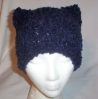 Hand Knit Cat Ears Hat Meooow - Blue Shades Boucle