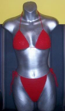 Hand Crochet Bikini Sexy B Cup ~ Red