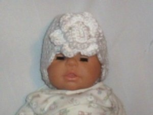 Hand Crochet Baby White Flowered Hat