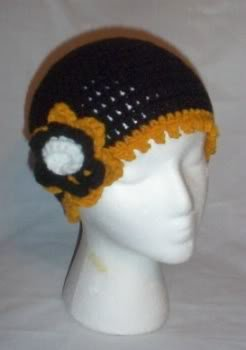 Hand Crochet ~ Steeler Ladies Flower Beanie BlackNGold