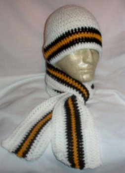 Hand Crochet ~ Steelers Beanie/Scarf Set Black N Gold