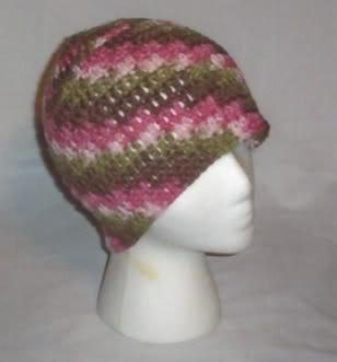 Hand Crochet ~ Ladies Skull Cap ~ Pink Camo