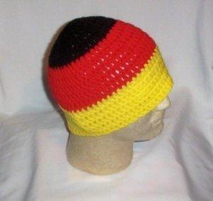 Hand Crochet Mens Beanies Skull Hat German Flag Colors