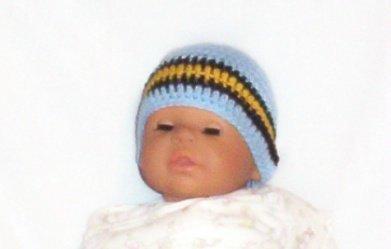 Hand Crochet Baby's Beanie Newborn - 6 mons -Blue  Pittsburgh Sports Teams