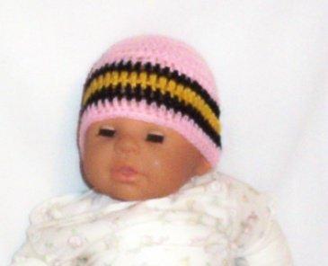Hand Crochet Baby's Beanie Newborn - 6 mons - Pink  Pittsburgh Sports Teams