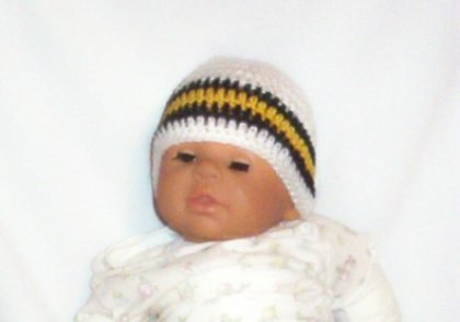 Hand Crochet Baby's Beanie Newborn - 6 mons - White Pittsburgh Sports Teams