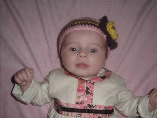 Hand Crochet Baby's Beanie Newborn - 6 mons - Pink Flower Pittsburgh Sports Teams