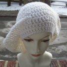 Hand Crochet Oversized Slouchy Beret Rasta Snood White