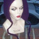 Hand Knit Pixie Hood ~ Purple