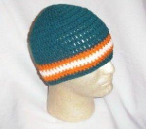 Hand Crochet ~ Miami Dolphins Men's Beanie