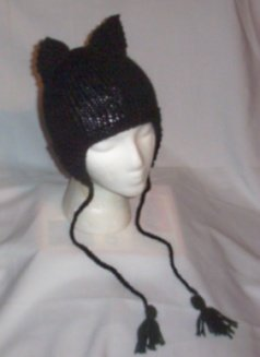 Hand Knit Ladies Cat Ears Hat w/Earflaps Meow Emo Goth