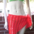 Hand Knit Beach Coverup - Sarong - Hipscarf - Pareo - Ready 2 Ship - Red
