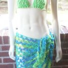 Hand Knit Beach Coverup - Sarong - Hipscarf - Pareo - Ready 2 Ship