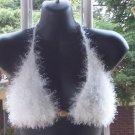 Hand Knit Bikini Top Halter Sexy Med/Lrg White Fur Yarn
