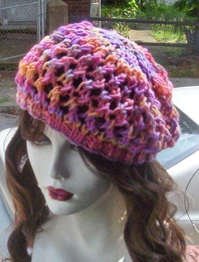 Hand Knit Summer Slouchy Fishnet Ladies Beret - Sunset